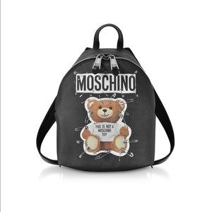 Authentic MOSCHINO Teddy Bear Pin Black Backpack